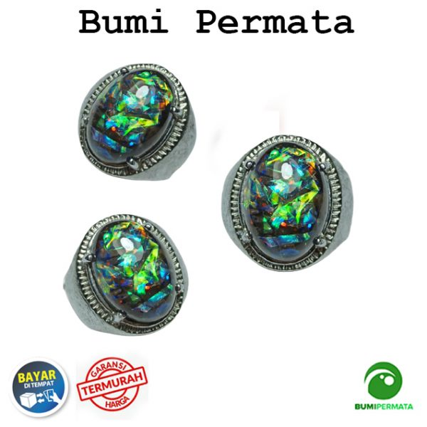 Batu Cincin Akik Black Opal Kalimaya Hitam Kembang Jarong Hand Made 1