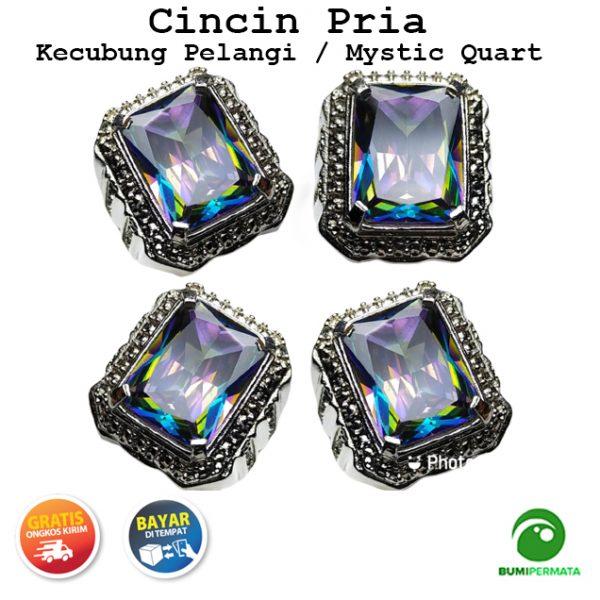 Batu Cincin Akik Kecubung Pelangi Mystic Quartz Kotak Keren Elegan 1