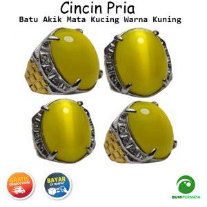 Batu Cincin Akik Mata Kucing Warna Kuning Yellow Cat Eye 1