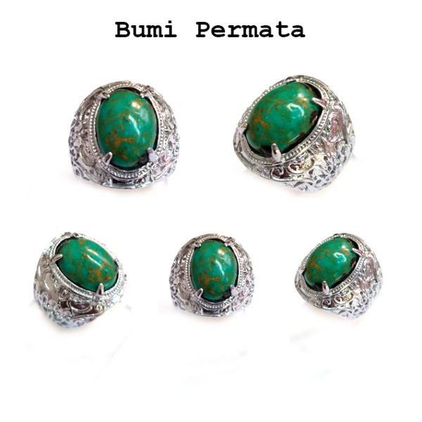 Batu Cincin Akik Pirus Hijau Urat Emas Keren Mewah Green Turquoise 1