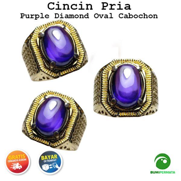Batu Cincin Akik Purple Amethyst Cabochon Kecubung Diamond