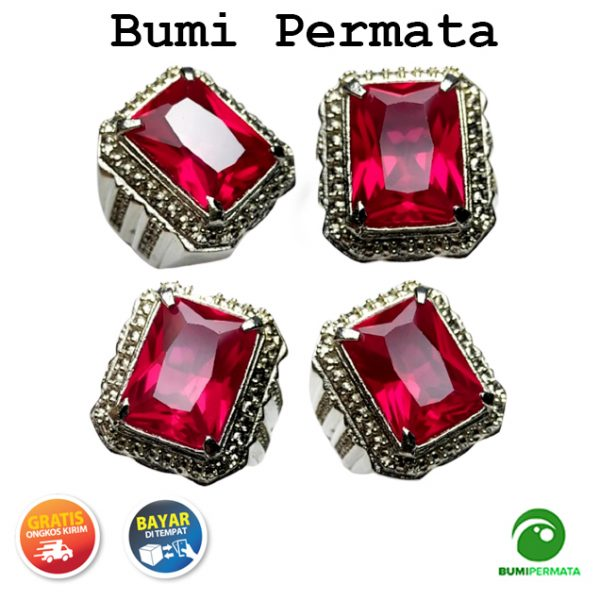 Batu Cincin Akik Red Padparadscha Kotak Full Cutting 1