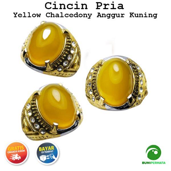 Batu Cincin Akik Yellow Chalcedony Anggur Kuning