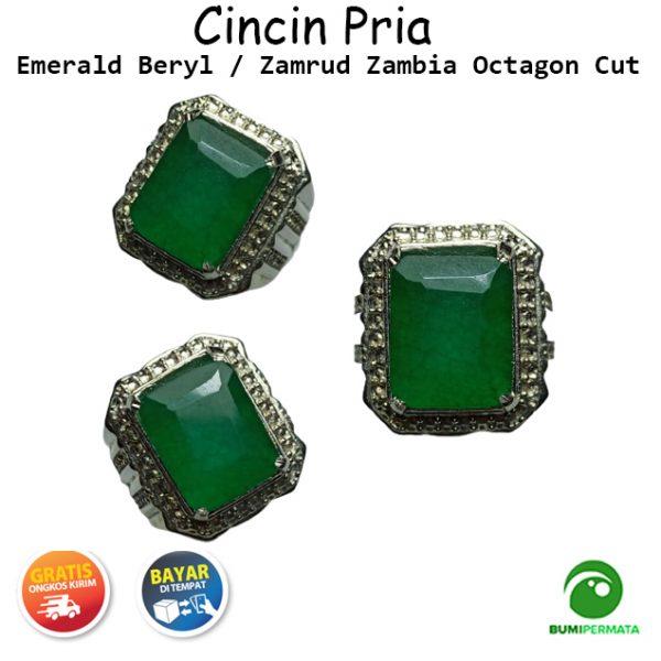 Batu Cincin Permata Natural Emerald Beryl Zamrud Zambia Emerald Cut