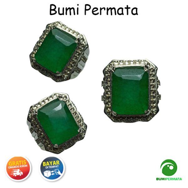 Batu Cincin Permata Natural Emerald Beryl Zamrud Zambia Emerald Cut 1