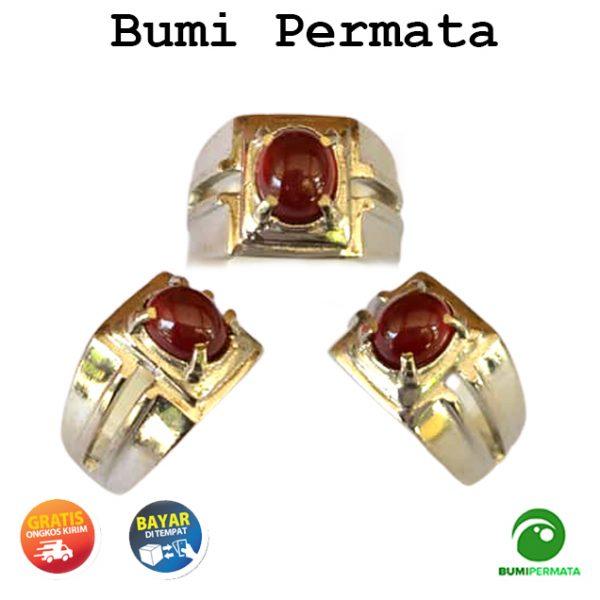 Batu Cincin Pria Wanita Permata Red Garnet Natural 1