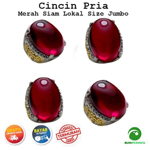 Cincin Batu Akik Pria Merah Siam Lokal Size Jumbo