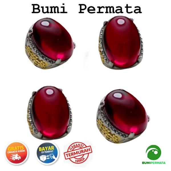 Cincin Batu Akik Pria Merah Siam Lokal Size Jumbo 1
