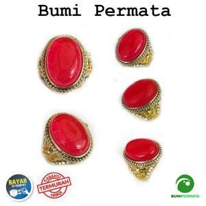 Cincin Pria Batu Akik Giok Merah Keren Elegan Natural Ring Tanam 1