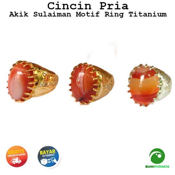 Cincin Pria Batu Akik Sulaiman Motif Asli Natural Ring Titanium 1