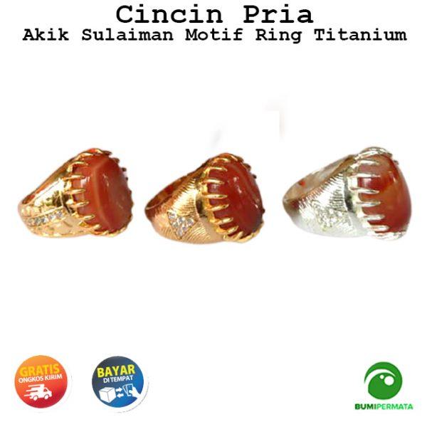 Cincin Pria Batu Akik Sulaiman Motif Asli Natural Ring Titanium 2