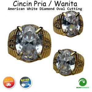 Cincin Pria Super Mewah American Diamond Silver Oval Cutting