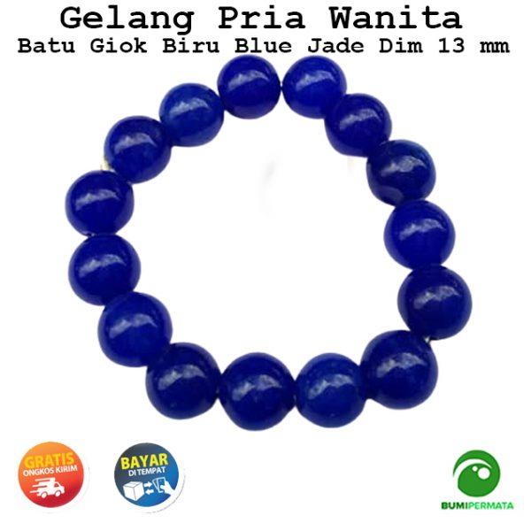 Gelang Batu Akik Giok Biru Blue Jade 13 Mm