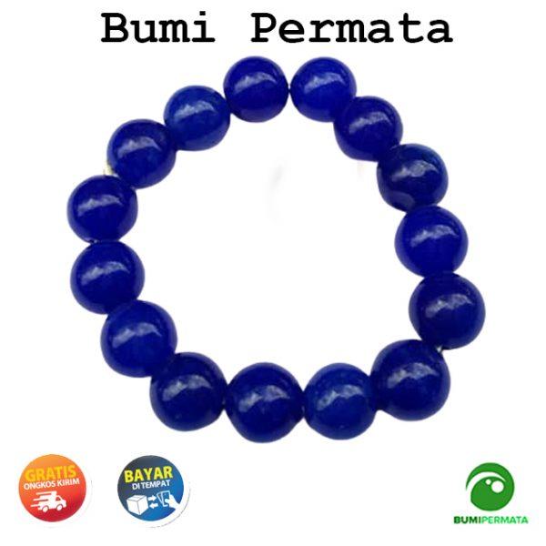 Gelang Batu Akik Giok Biru Blue Jade 13 Mm 1