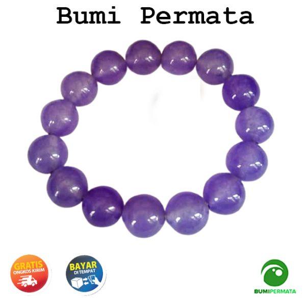 Gelang Batu Akik Giok Ungu Purple Jade 13 Mm 1