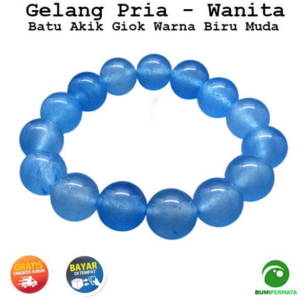 Gelang Batu Giok Warna Biru Muda Jade 13 MM 1