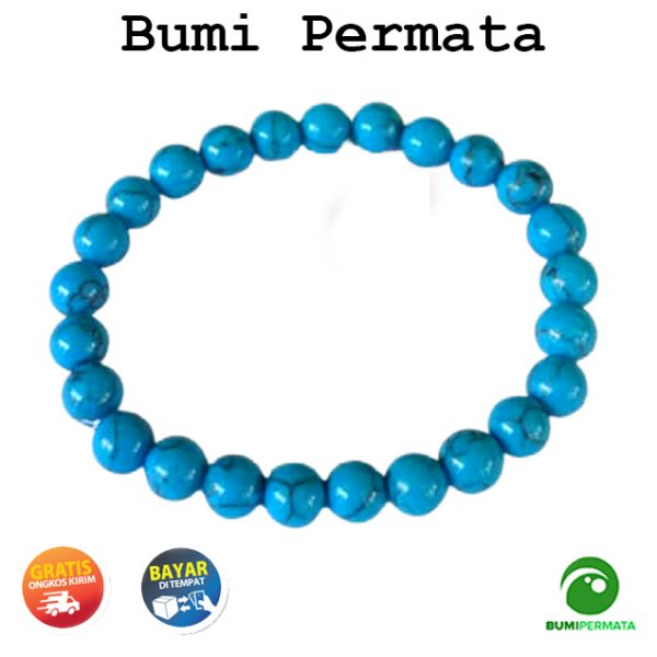 Gelang Pria Wanita Batu Akik Turquoise Pyrus Nevada Biru 8 MM 3