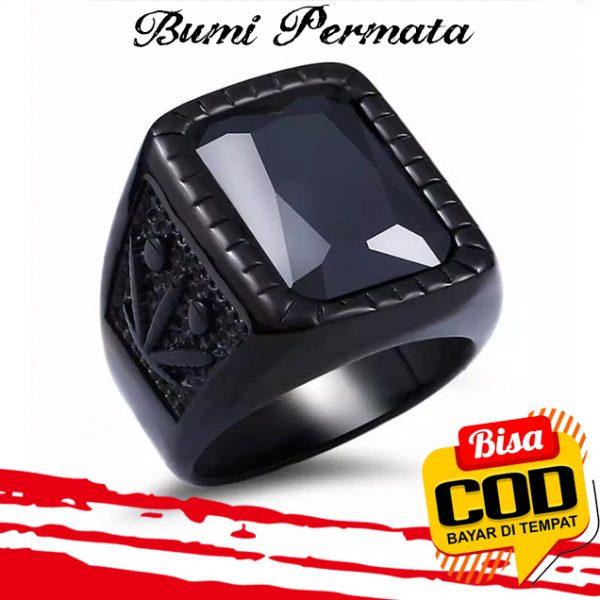 Batu Cincin Akik Black Onyx Kotak Ring Titanium Hitam 1