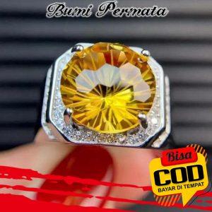 Batu Cincin Perak 925 American Diamond Model Citrine Quartz