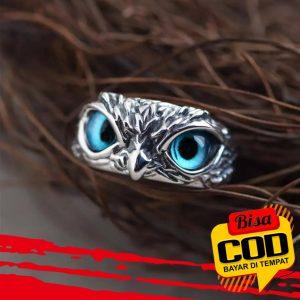 Cincin Model Terbuka Adjustable Desain Hewan Mata Burung Hantu Bahan 925 Silver Gaya Retro 3