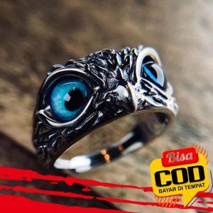 Cincin Model Terbuka Adjustable Desain Hewan Mata Burung Hantu Bahan 925 Silver Gaya Retro 2