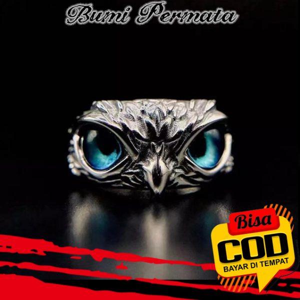 Cincin Model Terbuka Adjustable Desain Hewan Mata Burung Hantu Bahan 925 Silver Gaya Retro 1