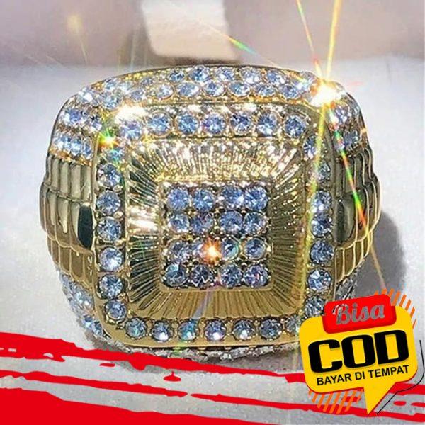 Cincin Emas 18k Bahan 925 Sterling Silver Aksen Batu Permata Alami Untuk Pria 1