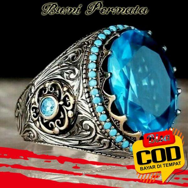 Cincin Kawin Pria Fashion Perhiasan Aquamarine Kristal Berlian Biru Baja Titanium Perak Antik Silver Rings 3
