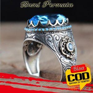 Cincin Kawin Pria Fashion Perhiasan Aquamarine Kristal Berlian Biru Baja Titanium Perak Antik Silver Rings 1