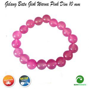 Gelang Giok Warna Pink Dim 10 mm 1