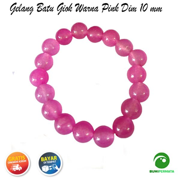 Gelang Giok Warna Pink Dim 10 mm