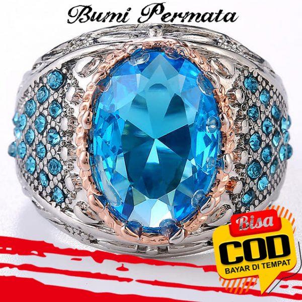 Cincin Pesona Perhiasan Aksesoris Fashion Pria Topaz Platinum Berlian Biru Kristal Mawar Emas Perak 3