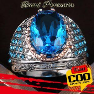 Cincin Pesona Perhiasan Aksesoris Fashion Pria Topaz Platinum Berlian Biru Kristal Mawar Emas Perak