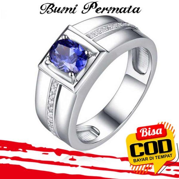 Sapphire Diamond Cincin Perak 925 Pria Wanita Fashion Batu Safir Berlian Silver Ring 2