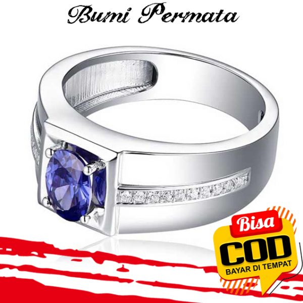 Sapphire Diamond Cincin Perak 925 Pria Wanita Fashion Batu Safir Berlian Silver Ring 1