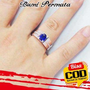 Sapphire Diamond Cincin Perak 925 Pria Wanita Fashion Batu Safir Berlian Silver Ring