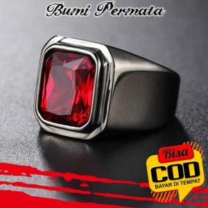 Cincin Merah Siam Ruby Square Cut Ring Baja Titanium 1