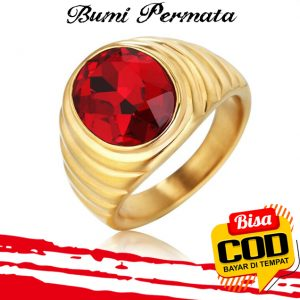 Batu Cincin Akik Merah Siam Oval Cut Gold Titanium Tanam