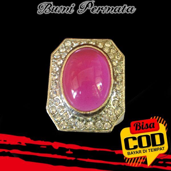 Keren Cincin Pria Batu Akik Rose Diamond Pink Oval Cabochon 2