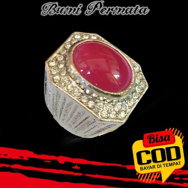 Keren Cincin Pria Batu Akik Rose Diamond Pink Oval Cabochon 1