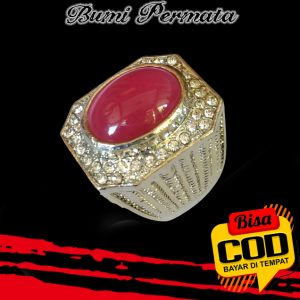 Keren Cincin Pria Batu Akik Rose Diamond Pink Oval Cabochon