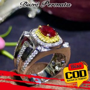 Cincin Platinum Lapis Emas 18R Hias Kristal Berlian Rubi Untuk Pria Wanita 3