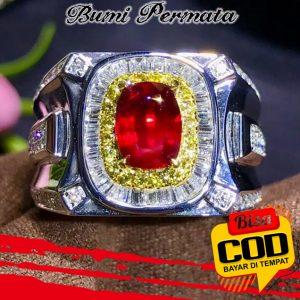 Cincin Platinum Lapis Emas 18R Hias Kristal Berlian Rubi Untuk Pria Wanita 1