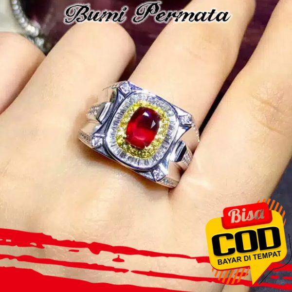 Cincin Platinum Lapis Emas 18R Hias Kristal Berlian Rubi Untuk Pria Wanita